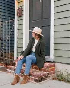 fall outfit, brown booties, women's sweater blazer, rancher hat, fall denim, women's fashion, women's style | @louellareese | LIKEtoKNOW.it Brown Booties, Casual Fall Outfits, Feminine Style, Outfit Posts, Women's Fashion, Fashion Trends, Autumn Winter Fashion, What To Wear, Sweaters For Women