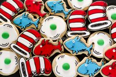 Dr. Seuss Cookies - Cat in the Hat, Green Eggs and Ham, Red Fish Blue Fish - Royal Icing Queen