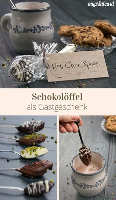 Trinkschokolade am Stiel – Das Gastgeschenk zum Selbermachen Everyone is happy about chocolate. Hot chocolate as a gift goes even further. 12 Cupcakes, Crafts To Sell, Diy And Crafts, Stuff To Do, Things To Sell, Little Gifts, Gourmet Recipes, Hot Chocolate, Diy Gifts