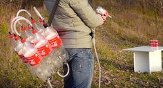 airsoft gun van plastic flessen