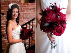 red roses black feathers centerpieces | Debbie + Carlos: Nashville Wedding Planner Has a Hollywood-Style ...