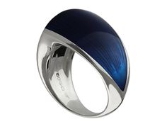 Silver Libertine Ring for Men and Women, with Blue Resin Inlay designed and made in London by William Cheshire - High End Jewellery. Sold in store and on our website www.williamcheshire.com