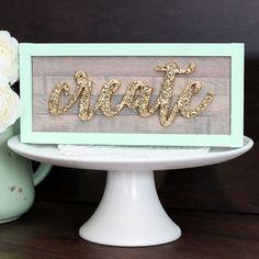 Script gold glitter Create wood sign