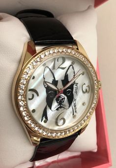 Betsey Johnson Dog Boston Terrier Watch Crystal Black Embossed Band for sale online Boston Terrier Dog, Emboss, Michael Kors Watch, Betsey Johnson, Watches, Band, Crystals, Best Deals, Dogs