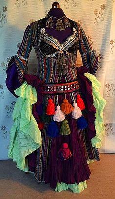 Ghawazee coat, 25 yard skirt, coin bra and belt with tassels all handmade by Velvet Claw Designs
