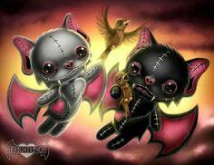 Frightlings: Vladimir and Vincent Batling. The Batling Brothers. Voodoo Doll Tattoo, Voodoo Dolls, Anime Chibi, Manga Anime, Princesas Disney Dark, Image 3d, Gothic Fantasy Art, Pomes, Dark And Twisted