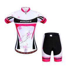 WOSAWE Women Cycling Bicycle Jersey Bike Short Sleeve Suits Sports Sport Cycling Set Summer
