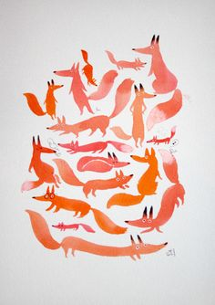 illustration Fox Day @Danielle Lampert Lampert Lampert Lampert Lampert Lampert Cronquist. Using here basically one colour to explore the fox form