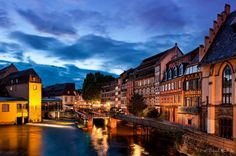 Beautiful blue hour in Colmar, France