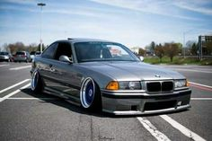 BMW E36 M3 grey slammed deep dish stance