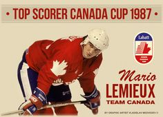 The great Mario Lemieux, representing Canada during the 1987 Canada Cup, later to become the World Cup. Hockey Puck, Ice Hockey, Canada Cup, Hockey Boards, Mario Lemieux, Hockey Pictures, President Ronald Reagan, Athletes, Nhl