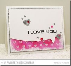 Keep on Rockin', Tiny Hearts Background, All My Love Die-namics, Fluttering Hearts Die-namics, Stitched Speech Bubble Edges Die-namics - Barbara Anders #mftstamps