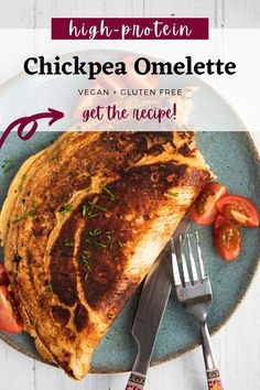 This chickpea omelette is the perfect vegan alternative to an egg omelette. It's high in plant-based protein, vitamins and fibre, plus naturally gluten free. #vegan #omelette #veganomelette Chickpea Omelette, Vegan Omelette, Vegan Pizza, Vegan Breakfast Recipes, Vegetarian Recipes, Vegan Blogs, Breakfast Menu, Breakfast Options, Free Breakfast
