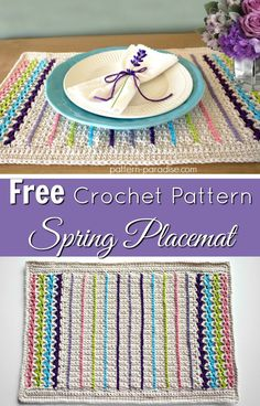 Free crochet pattern for spring placemat by pattern-paradise.com #crochet #patternparadisecrochet #placemats #placemat #tablesetting
