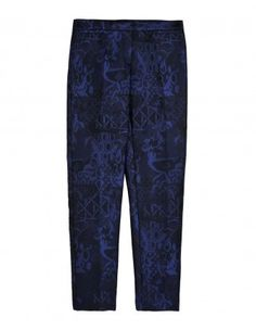 Navy English Trellis Jacquard Trousers