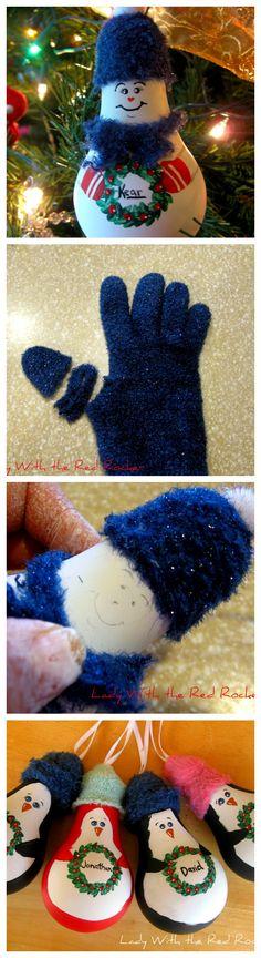 Snowman lightbulb ornament DIY