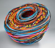 Shannon Webber, basket Sculpture Art, Sculptures, Abstract Sculpture, Textile Fiber Art, Fibre Art, Contemporary Baskets, Yarn Bombing, Weaving Art, Basket Weaving