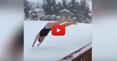 Winter Storm Jonas brought lots of snow, so let's have fun by snow diving --- in swim wear. Wow.