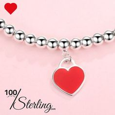 99fd31e20fb95c Sterling Silver Bead Bracelet with Red Dangling Heart that she'll love and  cherish for