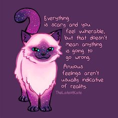 'Anxiety Encouragement Galaxy Cat' Poster by thelatestkate Anxiety Encouragement Galaxy Cat Posters Inspirational Animal Quotes, Cute Animal Quotes, Cute Quotes, Motivational Quotes, Cute Animals, Encouragement, Galaxy Cat, Understanding Anxiety, Cat Posters