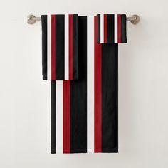 Black Red White Striped Towel Set Decorate your bathroom for the holidays. Merry Christmas bathroom ideas and inspiration. Black Bathroom Decor, Christmas Bathroom Decor, Bathroom Red, Grey Bathrooms, Bathroom Ideas, Bathroom Small, Glass Bathroom, Bathroom Sinks, Bathroom Accessories