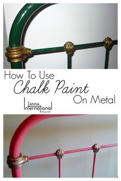 How to use Chalk Paint on Metal Antique French Cast Iron Bed Makeover Anna International is part of Metallic painted furniture - A simple tutorial on using chalk paint on metal to makeover an antique French cast iron bed using Annie Sloan chalk paint Using Chalk Paint, Chalk Paint Projects, Chalk Painting, Painting Doors, Paint Ideas, Metallic Painted Furniture, Chalk Paint Furniture, Chalk Paint Bed, Annie Sloan Painted Furniture