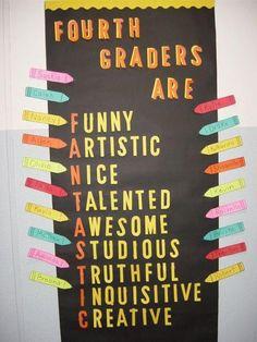 behavior bulletin  board for 4th grade   4th-Graders-Are...-Bulletin-Board-Idea.jpg (480×640)