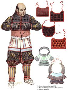 Samurai putting on his armour by Angus McBride … Samurai Armor, Arm Armor, Japanese History, Japanese Culture, Japanese Art, Japanese Warrior, Armadura Medieval, Medieval Armor, Fantasy Armor