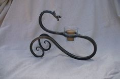 DRAGON CANDLE HOLDER Hand Forged by Blacksmith