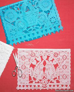 Party Place Mats  Welcome guests to the fiesta table with papel picado place mats this Cinco de Mayo. You can find these cut-paper flags (sold in rows attached to string for hanging) at crafts stores. Snip them off their string for place mats, or cut them into strips for napkin wraps. Colored flags can bleed when wet, so arrange them over a paper tablecloth to avoid stains.