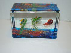 Rare Barbini Cenedese Murano Art Glass Aquarium Fish Block Paperweight