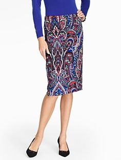 Talbots - Fleur de Lis Pencil Skirt | | Misses Discover your new look at Talbots. Shop our Fleur de Lis Pencil Skirt for stylish clothing and accessories with a modern twist at Talbots