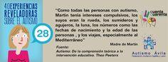 """Experiencia 28: """"Como todas las personas con autismo, Martín tenía intereses compulsivos, los suyos eran la rueda, los sumideros y agujeros, la luna, los números como las fechas de nacimiento y la edad de las personas, y los viajes, especialmente al Mediterráneo"""" (Madre de Martin)"""
