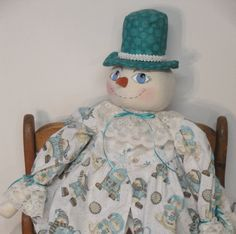 Blue White Snowflakes Snow Lady Doll by MorningMistDesigns on Etsy