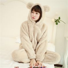 a027aaa4a4278 ... Animal Pijama Licorne Women s Bear Full Sleeve Hooded Polyester Pajama  Sets Women Nightwear Animal Pajamas For Adults Picture in Pajama Sets from  VOGUE ...