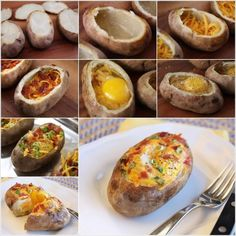 Looks delicious. Definitely need to try this yummy baked potato breakfast dish! Breakfast And Brunch, Breakfast Potatoes, Breakfast Bowls, Breakfast Recipes, Breakfast Ideas, Nutritious Breakfast, Breakfast Bake, Comida Diy, Stuffed Baked Potatoes