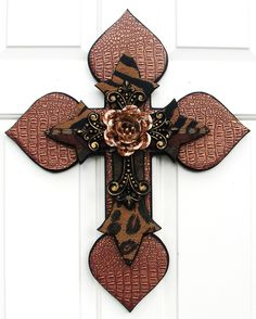 Beautiful hand-crafted stacked wooden cross designed by DiaMor De'cor