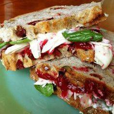 Cranberry Basil Turkey Sandwich - Bright, tart and subtly sweet cranberry sauce is perfectly paired with savory turkey and fresh basil.