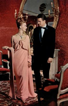 1961 Christian Dior 60s pink evening gown long dress wrap stole designer couture vintage fashion style color photo print ad model magazine women glam