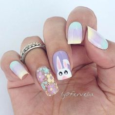 Pastel bunny Spring Easter Nail Art Design