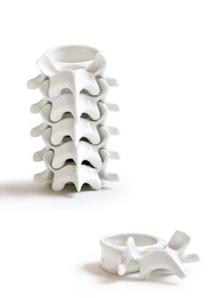 CELIA NKALA, VERTEBRA: stackable candle-holder; enameled porcelain.