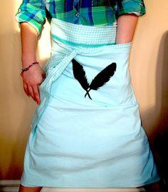 #Apron Aqua Blue White Gingham Fabric Feather# Hand Painted Women Vendor# Kitchen Clothing Gardening Accessory Pocket MayamisworldAprons at Etsy.com
