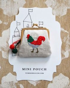 To know more about Yumiko Higuchi Rooster-mini-pouch, visit Sumally, a social network that gathers together all the wanted things in the world! Featuring over 52 other Yumiko Higuchi items too! Diy Embroidery, Cross Stitch Embroidery, Embroidery Patterns, Meme Costume, Motifs Textiles, Techniques Couture, Galo, Fabric Bags, Needlework