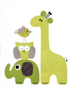 Lime Green and Grey Giraffe  Nursery Artwork Print // Baby Room Decoration // Kids Room Decoration // Gifts Under 20