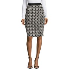 Karl Lagerfeld Paris Women's Printed Pencil Skirt ($32) ❤ liked on Polyvore featuring skirts, black floral, knee length pencil skirt, bow pencil skirt, karl lagerfeld, floral knee length skirt and floral printed skirt