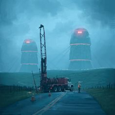 """Roadwork"" by Simon Stålenhag 