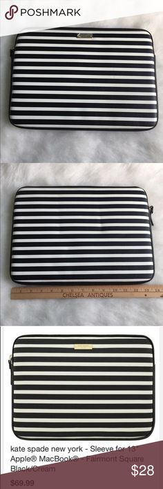 """Kate Spade laptop sleeve Shield your 13"""" Apple MacBook against scratches and scuffs with this kate spade new york KSMB-012-FSQBC sleeve, which features stylish kate spade new york designs on durable vinyl material. The gold zipper closure adds a touch of style. This one has a flaw: there is a pen mark. I tried getting it off, no luck. kate spade Accessories Laptop Cases"""
