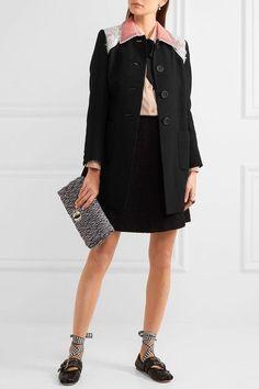 Miu Miu - Embellished Cady Coat - Black - IT42