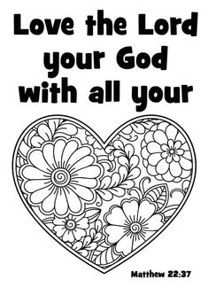 Love God with all your heart. FREE coloring page Bible Activities For Kids, Bible Lessons For Kids, Free Bible Coloring Pages, Coloring Pages For Kids, Love Does Not Envy, What Is Love, Matthew 22 37, Bible Verses About Love, Love Your Enemies