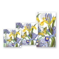 """Michel Design Works Iris Cocktail Napkins, Package of 20, 3-Ply by Michel Design Works. $7.48. Combine with michel design works' soaps, lotions, journals, and trays to create a unique, personalized gift sure to be used and appreciated. Hyacinth iris design features these striking flowers. Cocktail napkins come packaged 20 napkins per pack, soft 3-ply. Cocktail napkin folded size is 5"""" x 5"""". Group together with plates and trays for a perfect party accent every time. Add an e..."""